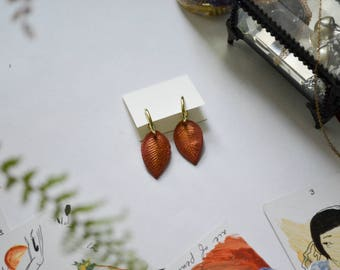 Fall Leaves Polymer Clay Hoop Earrings