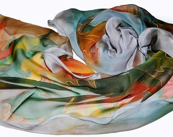 Hand painted Scarf Silk Scarf/Autumn leaves/Painted silk scarf/Woman scarf/Accessory/Woman Scarf Painted on silk by /S0099