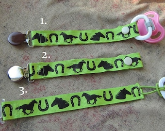 Handmade Horse Pacifier Clip Green with Black Horses