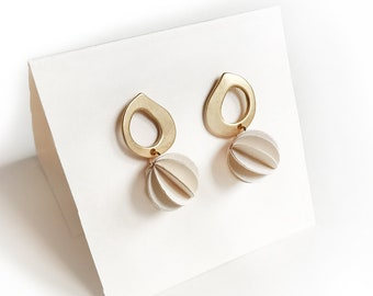 Stud drop earrings, paper jewelry, Zamak earrings and spherical paper pendant, gold earrings, woman earrings, gift for her, birthday