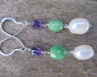 Suffragette in the City Amethyst, Emerald and Pearl Earrings