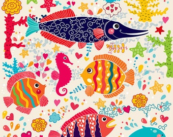 Cute colored fishes. Underwater topic. Fine art print. Beautiful print for living room, bedroom or kids room