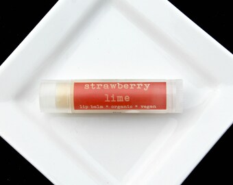 Strawberry Lime Vegan Lip Balm, Natural Lip Balm, Organic Lip Balm