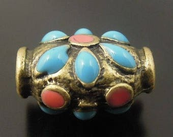 Pearl tube, antique bronze metal inlaid