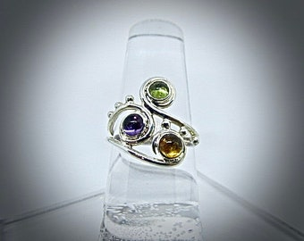 Sterling, citrine, amethyst, peridot ring