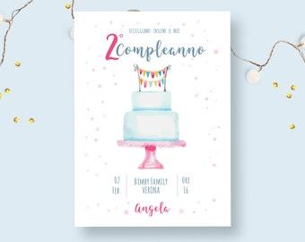 Invito festa di compleanno bambina 2 anni - invio con whatsapp o già stampato