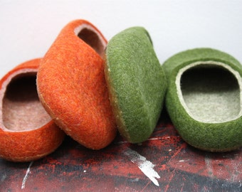 "Refreshment for your feet""  Felted wool slippers handmade to order"