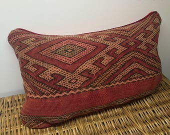 E S S M E | Vintage Kilim Rug Throw Pillow Cushion Cover Faded Shades of Red Bohemian Home Decor Morrocan Style