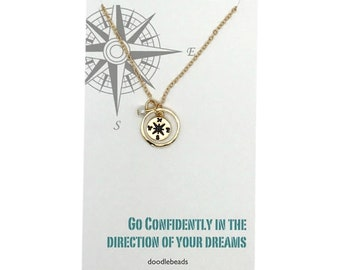 """Girl Graduation gift, wanderlust necklace, silver or Gold Compass Necklace with card  """"Go confidently in the direction of your dreams"""""""