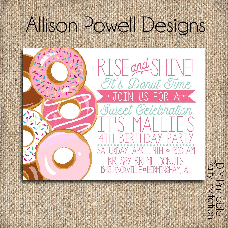 Donut Doughnut Breakfast Pajama Birthday Party Invitation