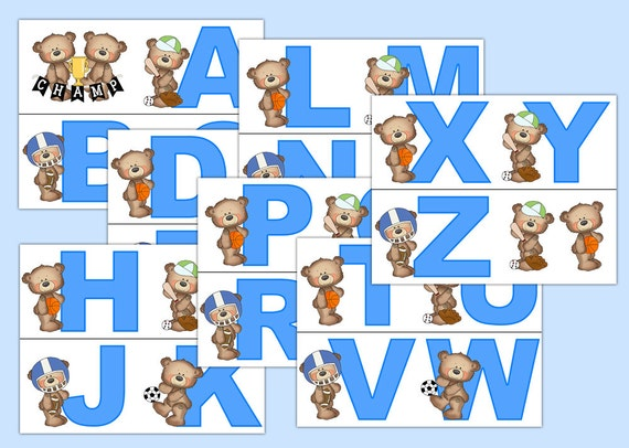 SPORTS NURSERY DECOR Teddy Bear Alphabet Wallpaper Border Decals Wall Art Boy Blue Letter Stickers Room Baseball Basketball Football Soccer