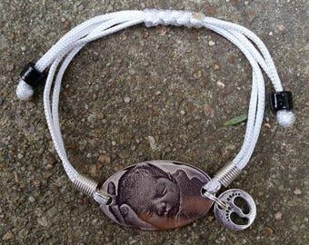bracelet en fil de satin blanc à graver