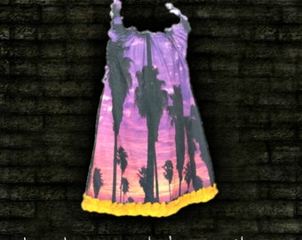 Sunset Palmtree Beach Halter with ruffles from thrift store tshirt recycled upcycled chopshopbitch