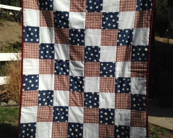 Handmade Americana Quilt - Red White & Blue / Stars and Stripes