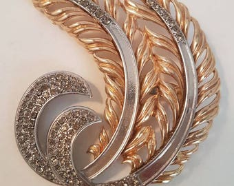 Large Gold and Silver Tone 1980s Diamante Feather Brooch