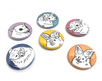 "BATPACK 1"" BUTTONS // Wise & Loving Bats Handmade Button Badge BFF Crew Gift Motivational Cute Stocking Stuffer Merlin Tuttle Illustration"