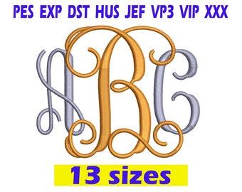 Interlocking Vine Monogram Font Embroidery / Interlocking Vine Monogram embroidery design/ INSTANT download