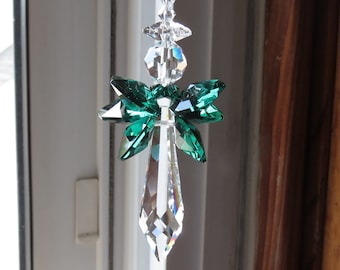 Swarovski Crystal Angel Suncatcher, Guardian Angel, Angel Suncatcher, May Birthstone, Emerald Angel For Your Home, Keira's Crystal Creations