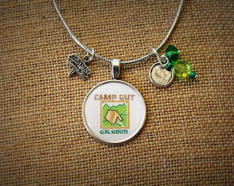 Girl Scout  Camp Inspired Necklace. Perfect for leader, mom, Daisy, Brownie, Junior, Cadet, Senior, or Ambassador ranks.