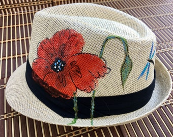 Hand-Painted Fedora Trilby - Red Poppy Design - Wearable Art