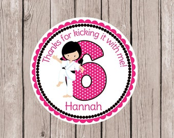 PRINTABLE Girls Karate Favor Tags for Karate Birthday Party / Any Age Personalized Taekwondo Party / Choose Hair & Skin Color / You Print
