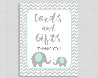 Cards and Gifts Sign, Mint Elephant Baby Shower Gift Table Sign, Mint & Grey Chevron,  Neutral, INSTANT PRINTABLE