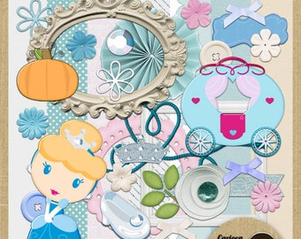 Cute Cinderella Digital Scrapbooking Kit from Carioca Digital