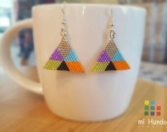 Geometric earrings, triangle earrings, beaded earrings, Miyuki beaded earrings, colorful beaded earrings, geometric jewelry, minimalist