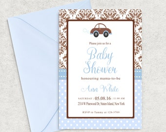 Damask Baby Shower Invitation, Baby Blue and Brown Baby Shower Invitation, Printable Invitation, Boy Baby Shower Invite