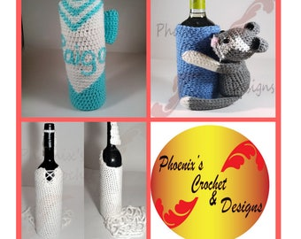 Custom Wine Bottle Cozies, Crochet Wine Bottle Cover