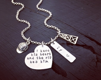 I Have His Heart And The Rig Has Him Oil Rig Necklace   Oil Rig Jewelry   Oil Rig Wife   Oil Rig Girlfriend Necklace   Oil Rig Gift For Her
