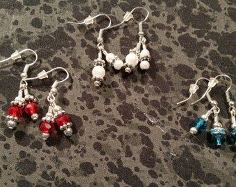Hand Beaded Dangle Earrings - Pick Your Color