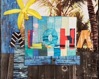 GLASSED, ALOHA (Fence North Shore HI), 4x4 and Up, Hand Painted, wood panel, ocean, art, Hawaii, Orchid, Hawaiian Art, wall art, gift