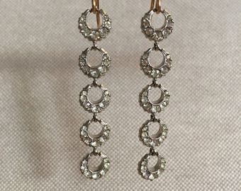 Vintage Rhinestone Cresent Dangle Earrings