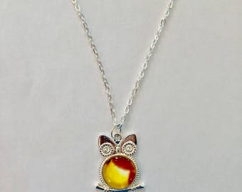 Yellow and Red Wise Owl Necklace