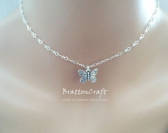 Silver Butterfly Choker - Butterfly Choker - Silver Butterfly Charm Jewelry - Insect Jewelry - Silver Monarch Butterfly - Spring Jewelry