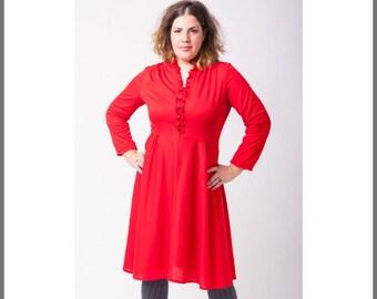 Frill red dress