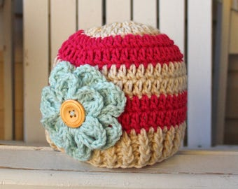 Baby Girl Hat, Little Girl Hat, Crochet Girl Hat, Flower Hat, Girl Flower Beanie, Newborn Hat, Infant Hat, Kids Hats
