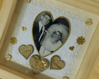 50th Gold Wedding Anniversary Gift Frame Personalised