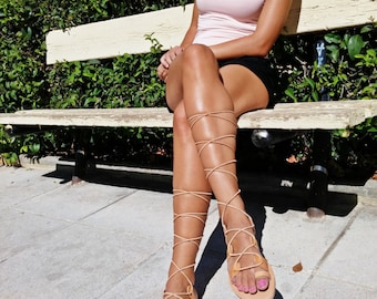 Lace up Sandals. Spartan Gladiator Sandals - Toe Ring Laceups. Handmade in Greece. Natural Brown, Gold, or Black Leather Sandals.