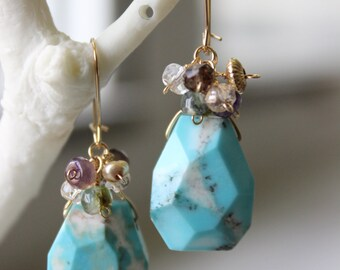 Turquoise and Multi-gem Cluster 3-way Earrings - Handmade