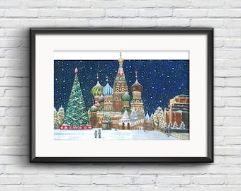 60x40cm Red Square Poster, Moscow Poster, Moscow Art Print, Art Poster, Art Print, Moscow Print, Russia Gift, Travel Poster, Travel Print