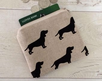 Black dog coin purse, money purse, doggy purse, money pouch, small zipper pouch, coin pouch, beige pouch, card wallet
