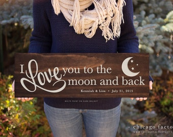 Wooden Love You To The Moon And Back Sign, Custom Wooden Sign, Wedding Gift, Wall Plaque for Home Decor (GP1003)