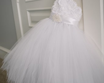 White One shoulder tutu flower girl dress and matching flower headband