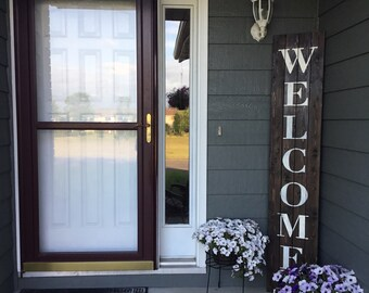 "Oversized Front Door Front Patio Rustic ""Welcome"" Pallet Sign"