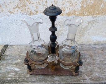 Vintage Antique French 1900s black wood & glass Oil and Vinegar Set  / Condiments / Castor  cruet  Set Art Nouveau