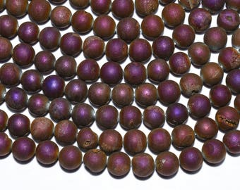 30% Dis Titanium Pink Druzy Beads 15 Inch 10mm Natural Agate Druzy Round Beads Strand(0197)