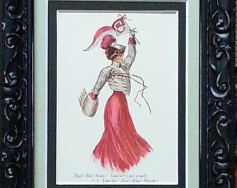 """Cornell Big Red """"College Girl"""" Framed Vintage Postcard"""