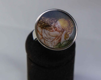 Hand painted lovers ring